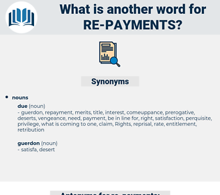 re-payments, synonym re-payments, another word for re-payments, words like re-payments, thesaurus re-payments