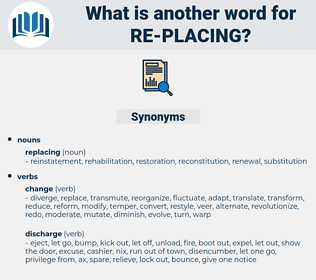 re-placing, synonym re-placing, another word for re-placing, words like re-placing, thesaurus re-placing