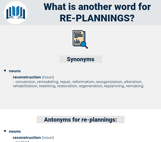 re-plannings, synonym re-plannings, another word for re-plannings, words like re-plannings, thesaurus re-plannings