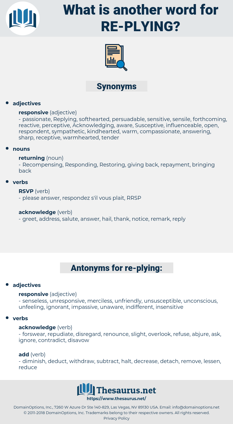 re-plying, synonym re-plying, another word for re-plying, words like re-plying, thesaurus re-plying