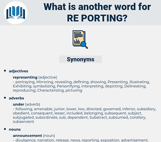 re porting, synonym re porting, another word for re porting, words like re porting, thesaurus re porting