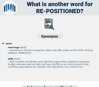 re-positioned, synonym re-positioned, another word for re-positioned, words like re-positioned, thesaurus re-positioned