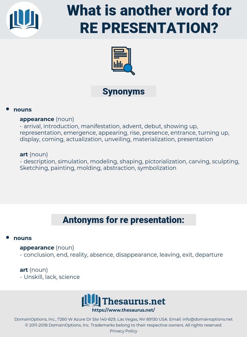 re presentation, synonym re presentation, another word for re presentation, words like re presentation, thesaurus re presentation