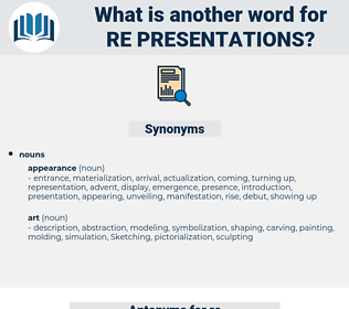 re presentations, synonym re presentations, another word for re presentations, words like re presentations, thesaurus re presentations