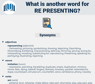 re-presenting, synonym re-presenting, another word for re-presenting, words like re-presenting, thesaurus re-presenting