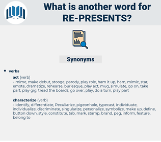 re-presents, synonym re-presents, another word for re-presents, words like re-presents, thesaurus re-presents