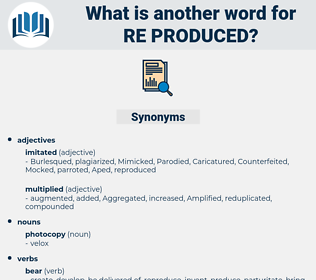 re-produced, synonym re-produced, another word for re-produced, words like re-produced, thesaurus re-produced