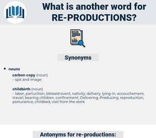 re-productions, synonym re-productions, another word for re-productions, words like re-productions, thesaurus re-productions