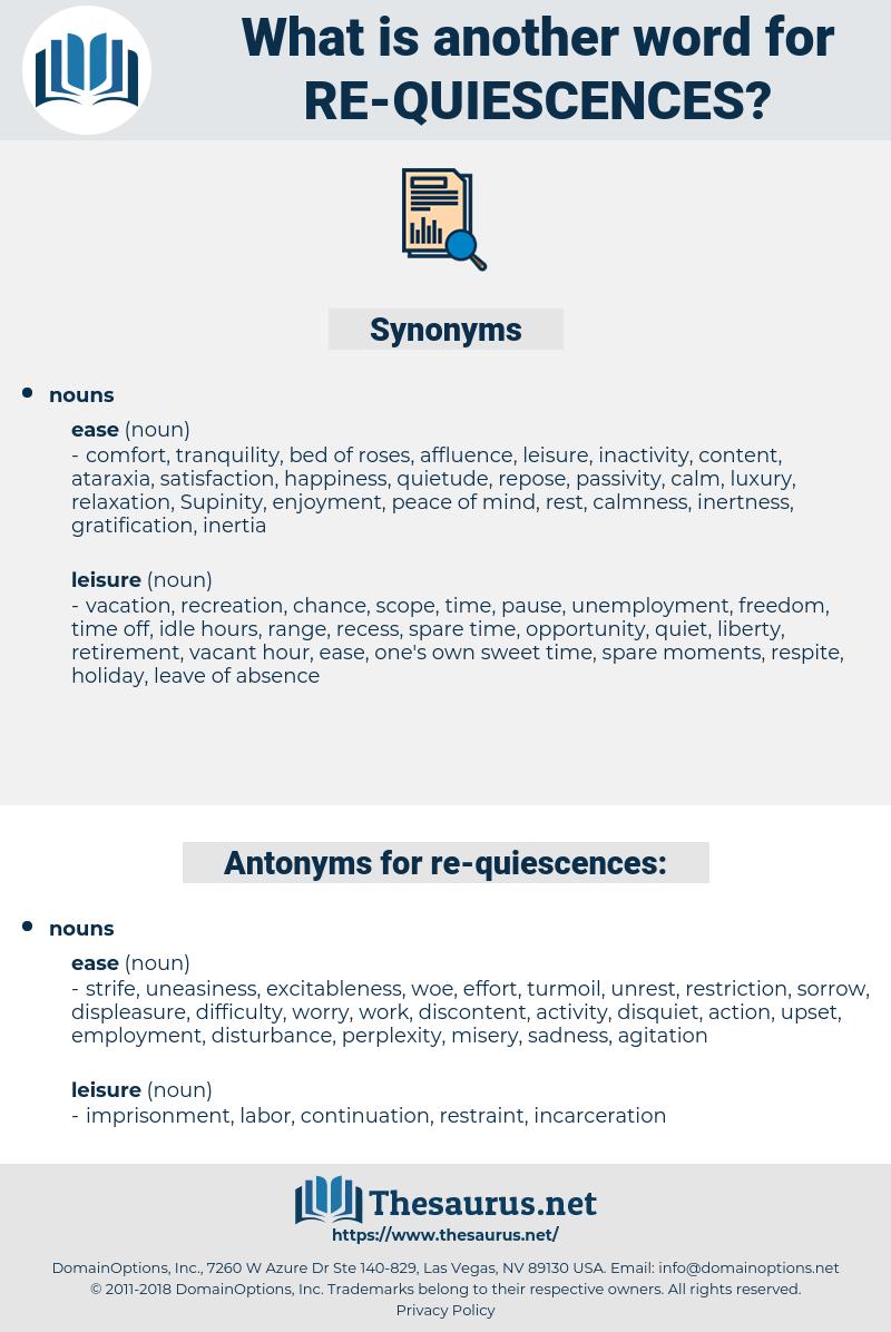 re-quiescences, synonym re-quiescences, another word for re-quiescences, words like re-quiescences, thesaurus re-quiescences