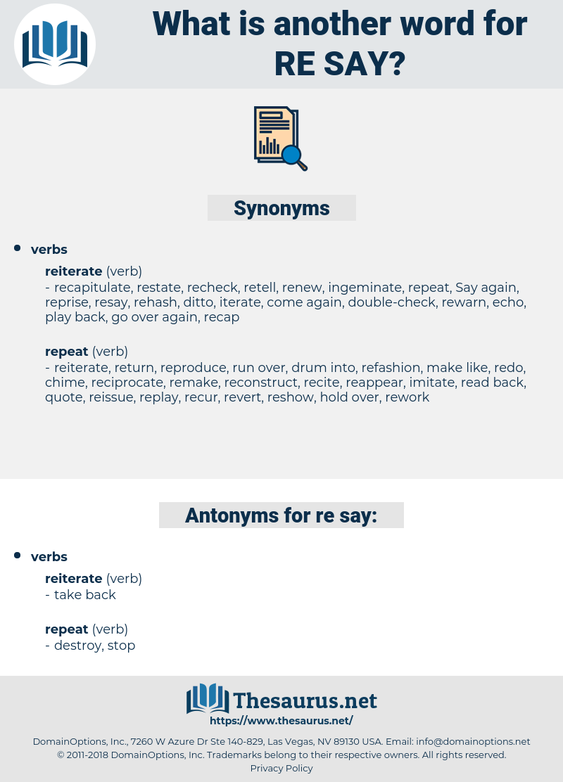 re say, synonym re say, another word for re say, words like re say, thesaurus re say