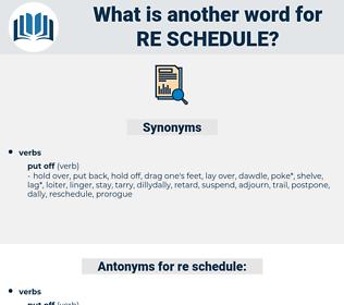 re schedule, synonym re schedule, another word for re schedule, words like re schedule, thesaurus re schedule