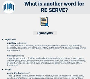 re-serve, synonym re-serve, another word for re-serve, words like re-serve, thesaurus re-serve