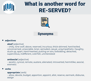 re-served, synonym re-served, another word for re-served, words like re-served, thesaurus re-served