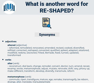 re shaped, synonym re shaped, another word for re shaped, words like re shaped, thesaurus re shaped
