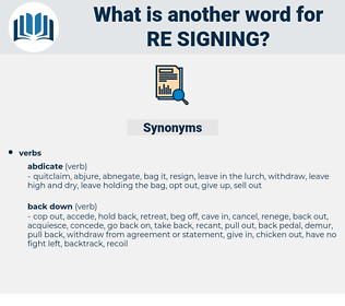 re signing, synonym re signing, another word for re signing, words like re signing, thesaurus re signing