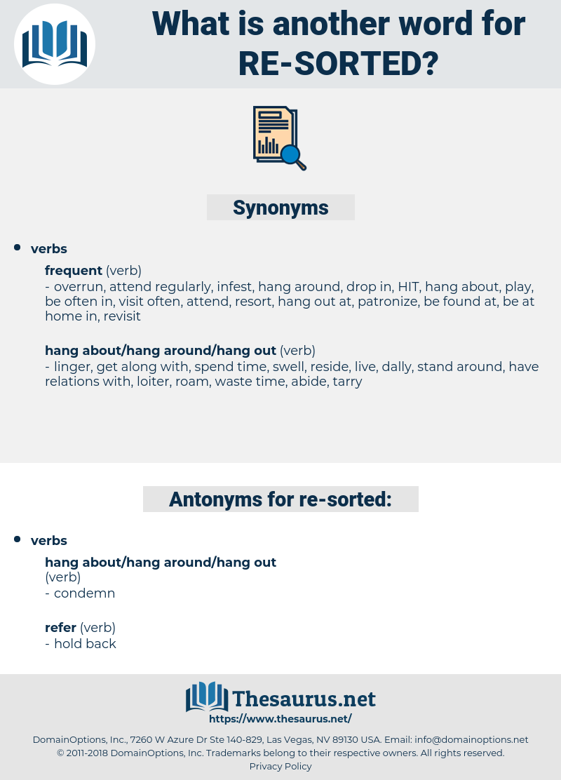 re sorted, synonym re sorted, another word for re sorted, words like re sorted, thesaurus re sorted