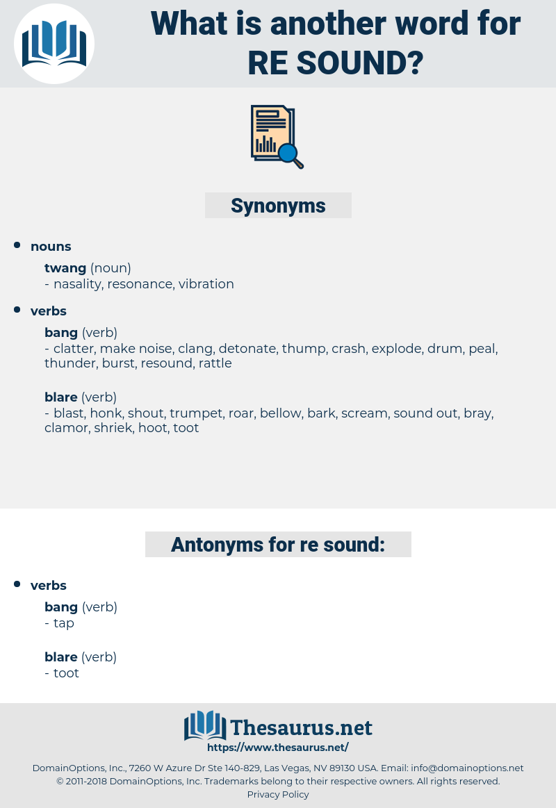 Re-sound, synonym Re-sound, another word for Re-sound, words like Re-sound, thesaurus Re-sound