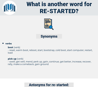 re started, synonym re started, another word for re started, words like re started, thesaurus re started