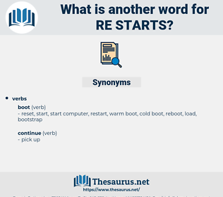 re-starts, synonym re-starts, another word for re-starts, words like re-starts, thesaurus re-starts