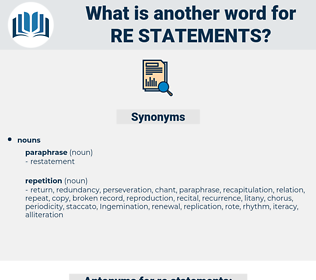 re-statements, synonym re-statements, another word for re-statements, words like re-statements, thesaurus re-statements