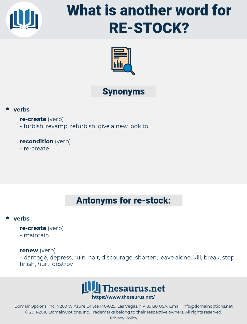 re-stock, synonym re-stock, another word for re-stock, words like re-stock, thesaurus re-stock