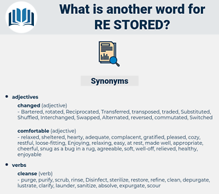 re stored, synonym re stored, another word for re stored, words like re stored, thesaurus re stored