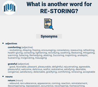 re-storing, synonym re-storing, another word for re-storing, words like re-storing, thesaurus re-storing