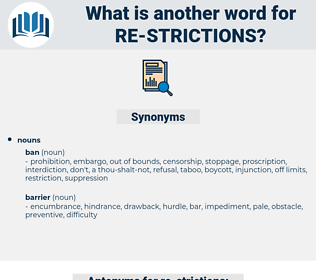 re-strictions, synonym re-strictions, another word for re-strictions, words like re-strictions, thesaurus re-strictions