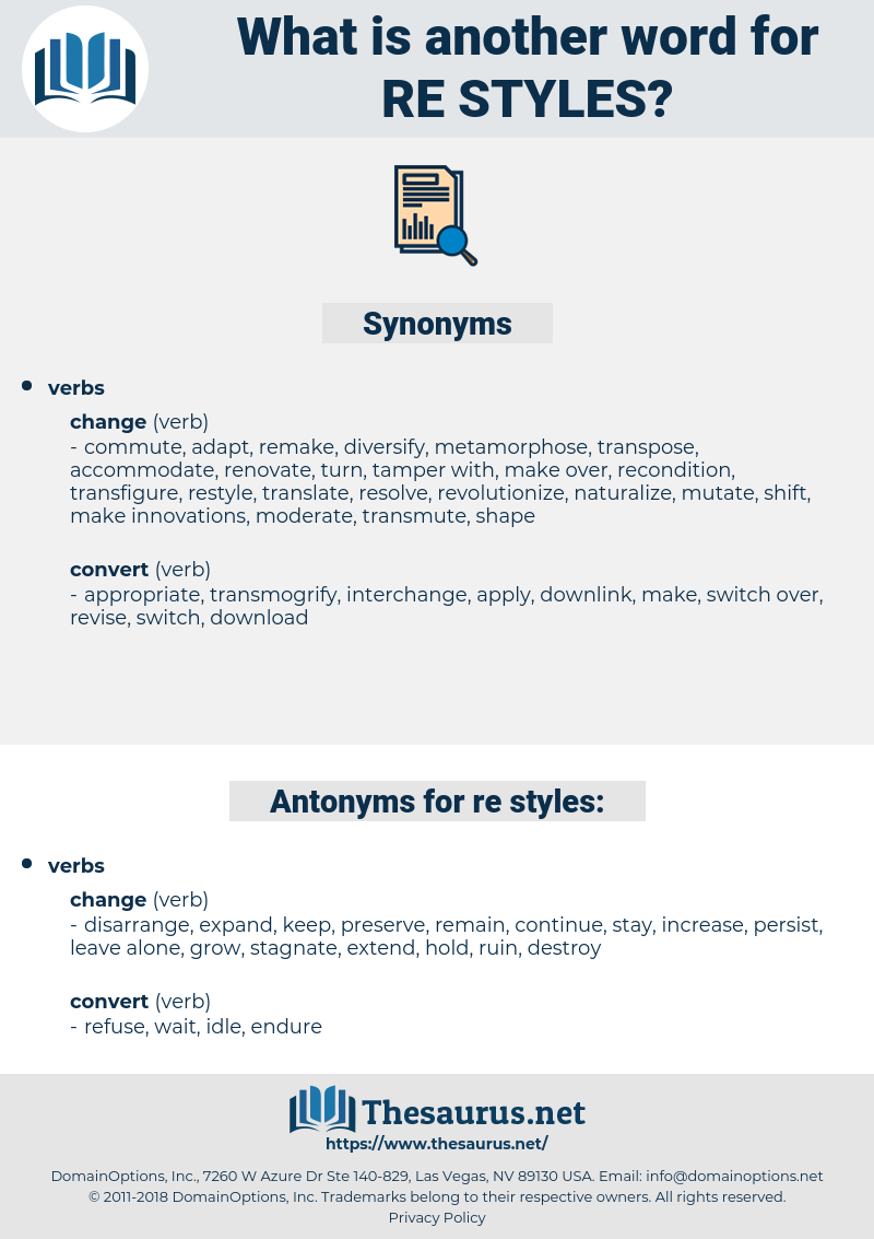 re-styles, synonym re-styles, another word for re-styles, words like re-styles, thesaurus re-styles