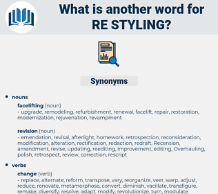 re-styling, synonym re-styling, another word for re-styling, words like re-styling, thesaurus re-styling