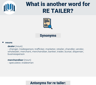 re-tailer, synonym re-tailer, another word for re-tailer, words like re-tailer, thesaurus re-tailer