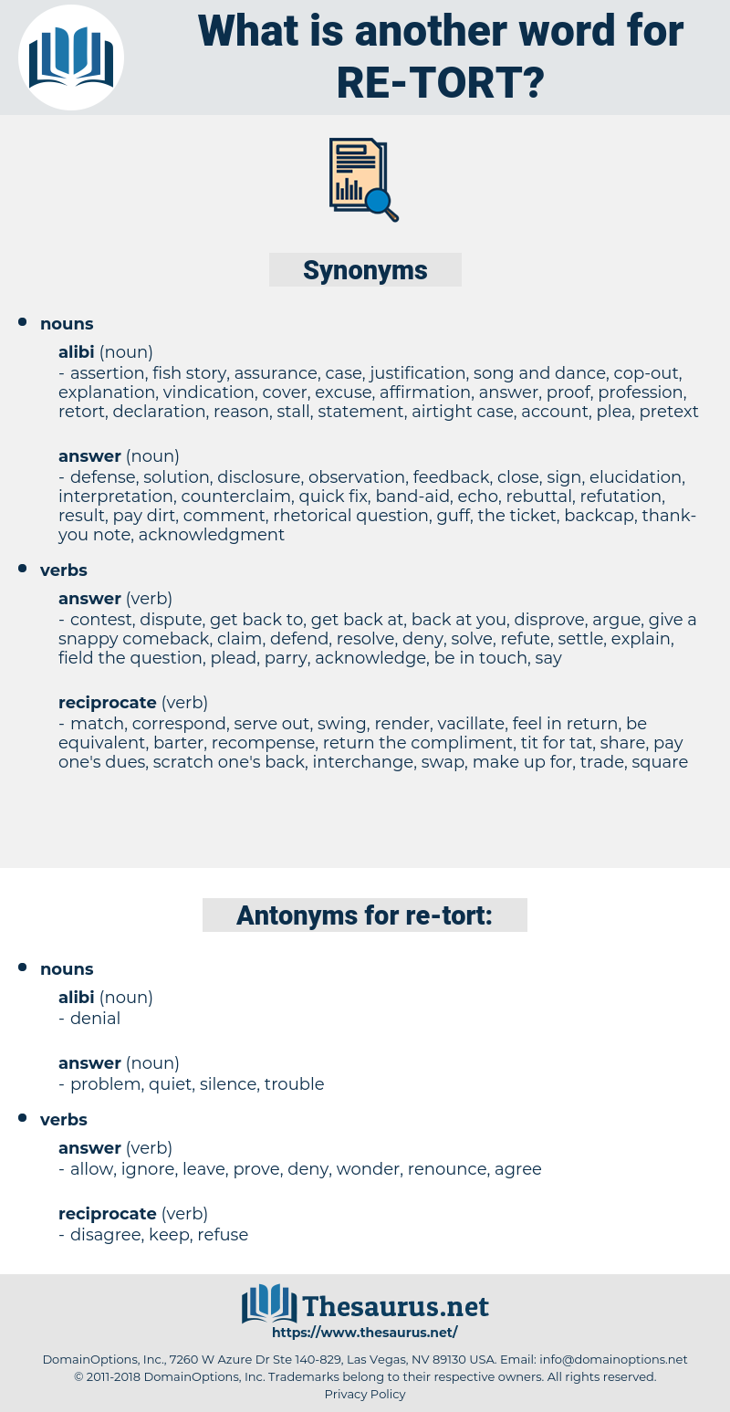 re-tort, synonym re-tort, another word for re-tort, words like re-tort, thesaurus re-tort