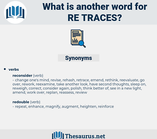 re traces, synonym re traces, another word for re traces, words like re traces, thesaurus re traces