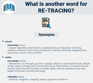 re tracing, synonym re tracing, another word for re tracing, words like re tracing, thesaurus re tracing