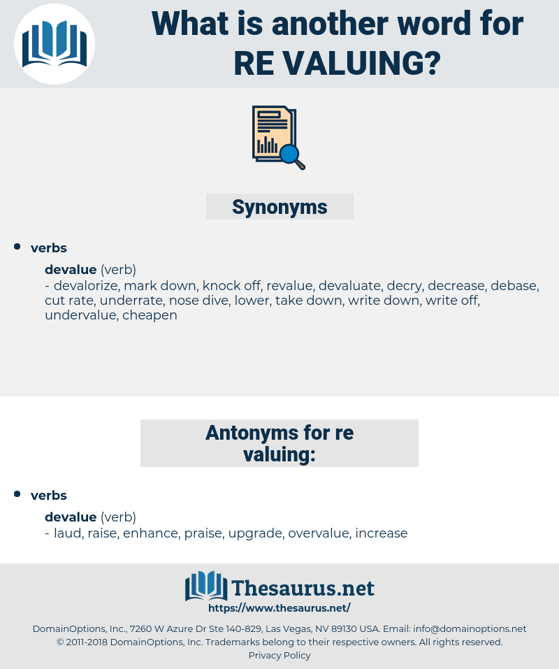 re valuing, synonym re valuing, another word for re valuing, words like re valuing, thesaurus re valuing