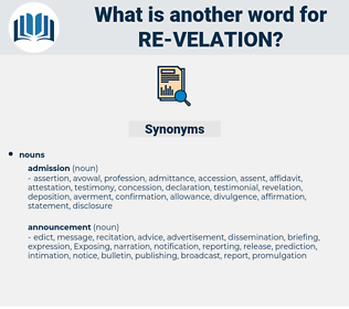 re velation, synonym re velation, another word for re velation, words like re velation, thesaurus re velation