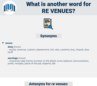 re-venues, synonym re-venues, another word for re-venues, words like re-venues, thesaurus re-venues