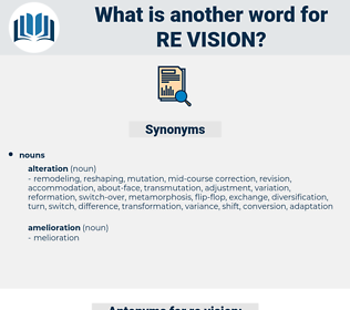 re-vision, synonym re-vision, another word for re-vision, words like re-vision, thesaurus re-vision