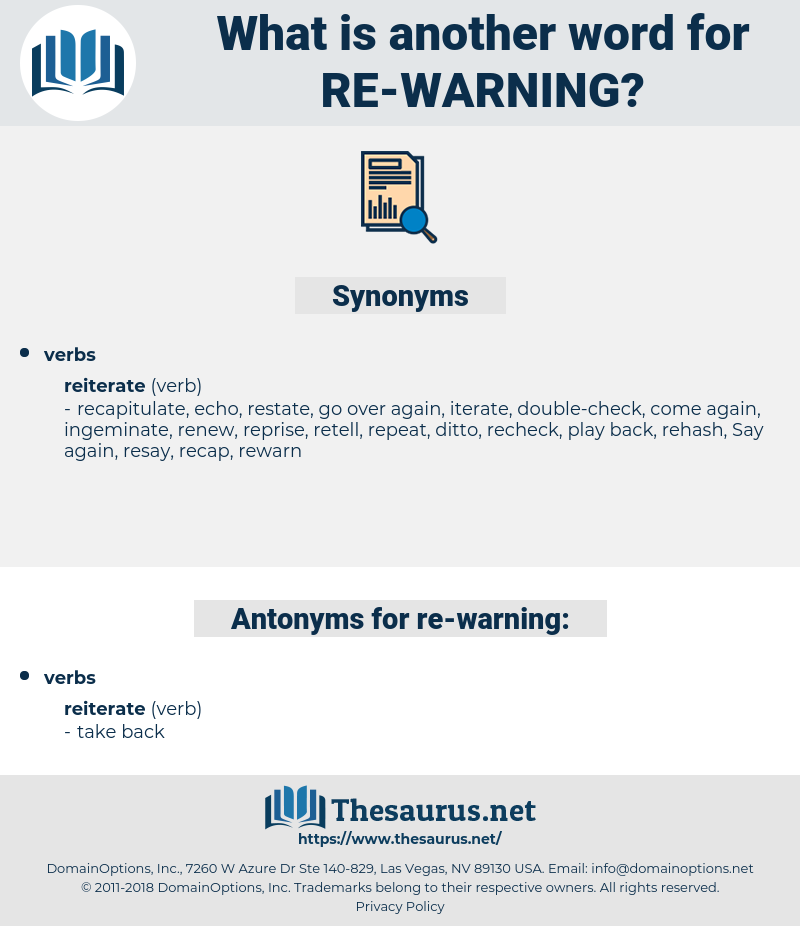 re warning, synonym re warning, another word for re warning, words like re warning, thesaurus re warning