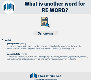 re-word, synonym re-word, another word for re-word, words like re-word, thesaurus re-word