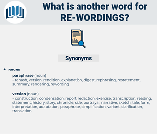 re wordings, synonym re wordings, another word for re wordings, words like re wordings, thesaurus re wordings