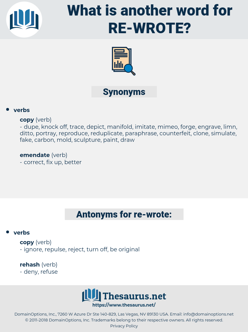 re-wrote, synonym re-wrote, another word for re-wrote, words like re-wrote, thesaurus re-wrote