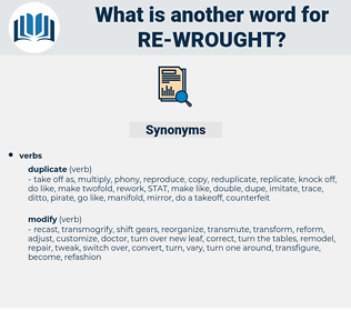 re wrought, synonym re wrought, another word for re wrought, words like re wrought, thesaurus re wrought