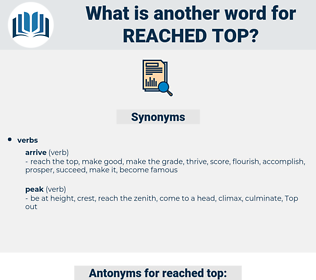 reached top, synonym reached top, another word for reached top, words like reached top, thesaurus reached top