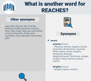 reaches, synonym reaches, another word for reaches, words like reaches, thesaurus reaches
