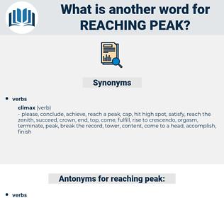 reaching peak, synonym reaching peak, another word for reaching peak, words like reaching peak, thesaurus reaching peak