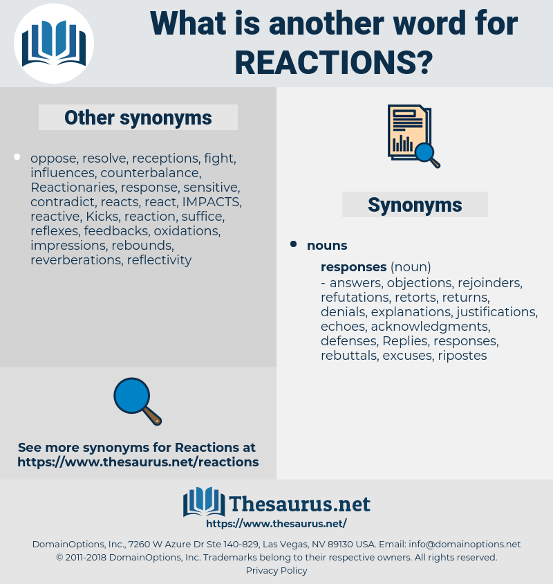 reactions, synonym reactions, another word for reactions, words like reactions, thesaurus reactions