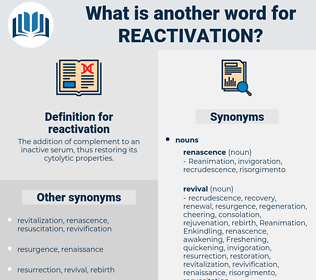 reactivation, synonym reactivation, another word for reactivation, words like reactivation, thesaurus reactivation