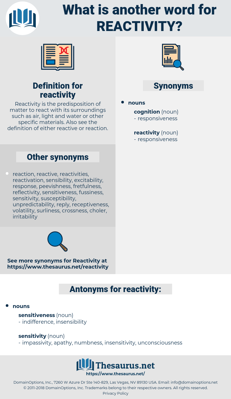 reactivity, synonym reactivity, another word for reactivity, words like reactivity, thesaurus reactivity