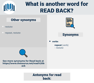 read back, synonym read back, another word for read back, words like read back, thesaurus read back